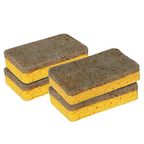 Natural Plant-Based Scrub Sponge, Palm Fiber Scrubbing Sponge, Durable, Non Scratch Cellulose Sponge Double Sided No Smell Dishwashing Kitchen Scrubber (4 Pack)