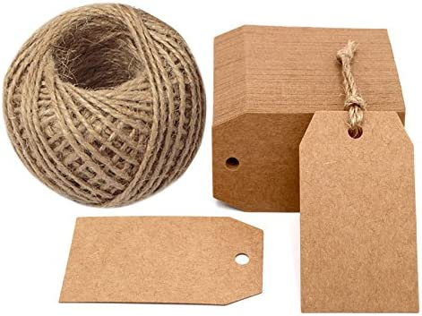 120 PCS Kraft Paper Tags Brown Heart Craft Hang Tags Price Tags with Free 100 Feet Natural Jute Twine for Gifts Arts and Crafts Wedding Gift Tags
