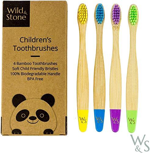 Wild & Stone | Szczoteczka do zębów dla dzieci z ekologicznego bambusa | cztery kolory | miękkie włosie | 100% biodegradowalna rączka | wegańskie przyjazne dla środowiska szczoteczki do zębów dla dzieci