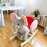 Kinsuite Baby Kids Ride-On Rocking Horse Animals Toy Plush Wooden Elephant Rocker with 32 Nursery Rhymes
