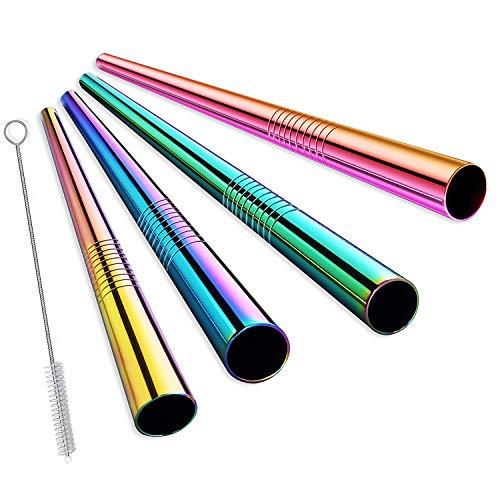 ALINK Extra breiter wiederverwendbarer Regenbogen-Boba-Smoothie-Strohhalm aus rostfreiem Stahl, 12-mm-Jumbo-Metallblasen-Tee- / Milchshake-Strohhalme, 4er-Pack mit Reinigungsbürste und Tragetasche