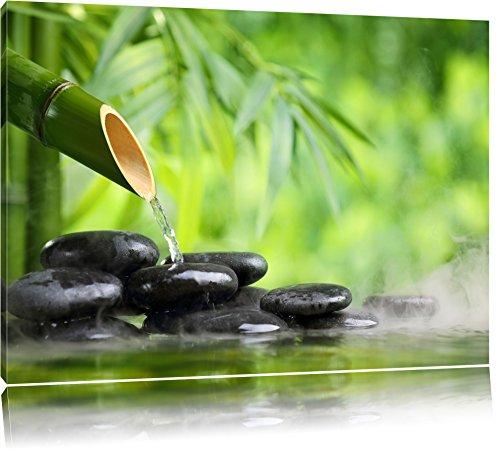 Bambusbrunnen mit Steinen Format: 120x80 auf Leinwand, XXL riesige Bilder fertig gerahmt mit Keilrahmen, Kunstdruck auf Wandbild mit Rahmen, günstiger als Gemälde oder Ölbild, kein Poster oder Plakat