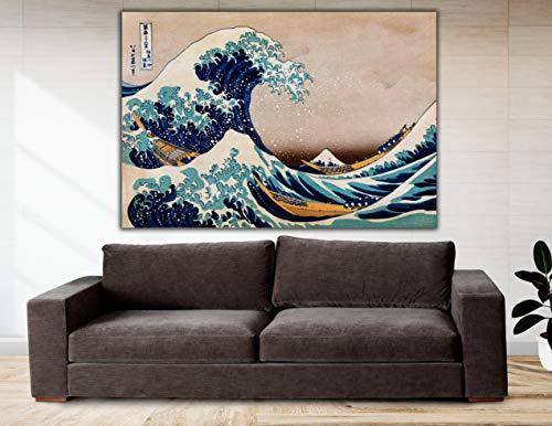 Cuadro Lienzo Bajo la Gran Ola de Kanagawa - 50x34 cm - Lienzo de Tela Bastidor de Madera de 3 cm de Grosor - Varias Medidas - Impresión en Alta resolución y Calidad (50, 34)