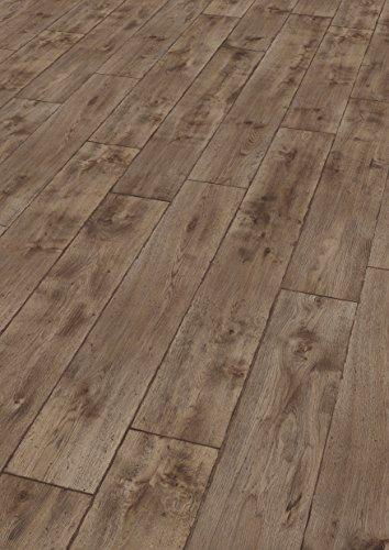 EGGER Home Laminat dunkel braun Holzoptik - Vinstra Eiche grau  EHL094 (8mm, 1,985m²) Klick Laminatboden | Bodenbelag