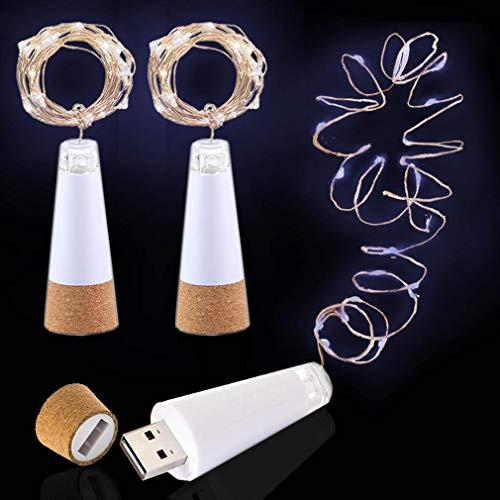 LED Luces para Botellas, USB Recargable No Requiere Batería, 2M 20 LED Iluminación de Interior, Guirnaldas luminosas para Navidad Regalo, Halloween Partido Boda Decoración (Blanco Frio, 3 Piezas)