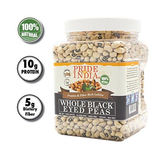 Pride Of India - Indian Whole Black Eyed Peas - Protein & Fiber Rich Lobiya, 1.5 Pound Jar
