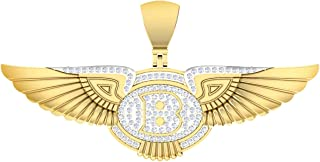 Mahijewels B Wing Pendant Necklace Charm 85 X 40 mm Jewelry Gifts for Men Hip Hop Jewelry 14k Yellow Gold Plated Diamond F...