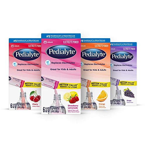 Pedialyte Electrolyte Powder, Electrolyte Drink, Variety Pack, Powder Sticks, (6 Count of 0.6 Oz Packets) 3.6 Oz, Pack of 4