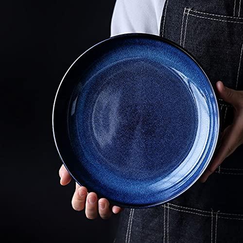 ZZRR Proceso de glaseado de Horno de Plato Hondo Redondo de cerámica para bistec Pasta Postre Ensalada de Frutas Apto para microondas en lavavajillas -10 Pulgadas Azul