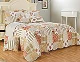 3pezzi bella floreale patchwork Vantage copriletto moderno design morbido cotone di qualità riempito, Alvina, Singolo