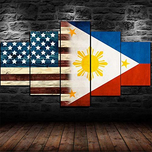 KOPASD leinwand 5 Teilig Bild Amerikanische philippinische Flagge. Sonnenuntergang Wandbilder Wohnzimmer Moderne für Schlafzimmer Dekoration Wohnung Home Deko Kunstdruck (Rahmenlos 150x80cm)