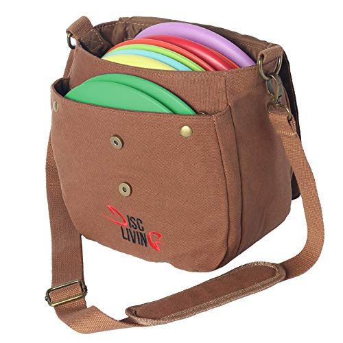 Disc Living Disc Golf Bag | Frisbee Golf Bag | Lightweight Fits Up to 10 Discs | Belt Loop | Adjustable Shoulder Strap Padding | Double Front Button Design | Bottle Holder (Brown)