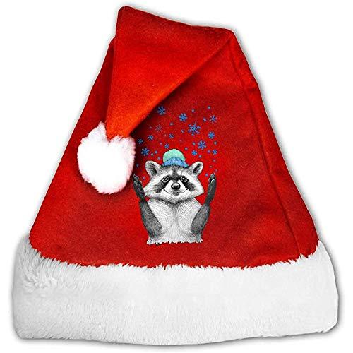 Vince Camu Weihnachtsmützen,Rote Santa Mütze,Weihnachtliche Mütze,Rot Weihnachten Hüte,Waschbär-Weihnachtskostüm-Klassischer Hut,Rote Weiße Kopfbedeckung,Weihnachtsfeiertags-Hut S