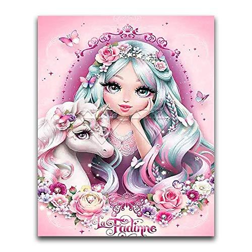 JXMK Pintura Digital para Adultos Chica de Dibujos Animados descuidado Sin Marco Pintura al óleo de Lienzo preimpresa de Bricolaje Decoraciones para el hogar 30x40cm