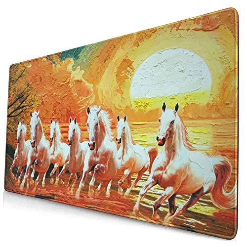 Großwild-Mauspad,Sieben laufende Pferde im gelben Leinwand-Textur-Ölgemälde,Rutschfester Schreibtisch-Pad-Schutz,Schreibtisch-Schreibmatte für...