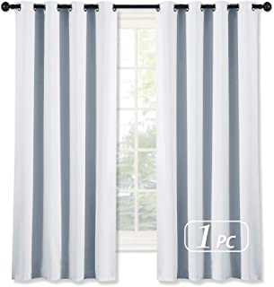 NICETOWN Room Darkening Curtain for Bedroom - (Greyish White/Silver Grey Color) Solid Thermal Insulated Blind Room Darkening Drape/Drapery for Windows,52x63 inches, 1 Pack