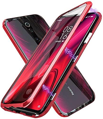 Funda para Xiaomi Redmi 9 Magnética Carcasa,Funda Protectora de Cuerpo Completo 360 Grados con Cristal Templado Protector de Pantalla,Antigolpes Rugged Metal Bumper Case Cover para Redmi 9,Roj