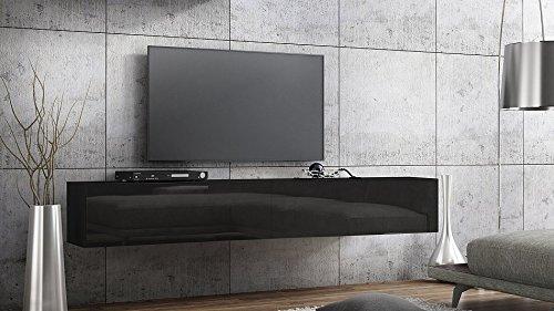 Wohnwand – Schwarzer TV Hängeschrank Lowboard kaufen  Bild 1*