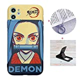 Cool iPhone 11 case Anime Comic for Boys,Demon Slayer Kamado Nezuko Cute Cartoon Glossy Cover Graphics Design with Cell Phone Stand and Charm Strap Ring