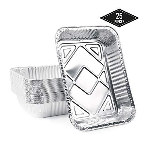 matana 25 Extra Große Einweg Aluschalen, Grillschalen Aluminium, Einweg-Backform, 37 x 22 cm - Perfekt zum Backen, Braten & Kochen - Stabil, Robust, Ofen Sicher & Wasserdicht.