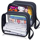 Lermende 2 Pack Pencil Case For Marker Pen Pencil Stationary Bag for Office Colleage Adult Teen Student, Clear Zipper Pencil Pouch Transparent Pen Pouch Travel Toiletry bag Cosmetic For Women Men Gift