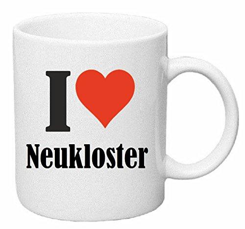 Kaffeetasse I Love Neukloster Keramik Höhe 9,5cm ? 8cm in Weiß