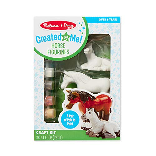 Melissa & Doug Created by Me! Horse Figurines Craft Kit (2 Resin Horses, 6 Paints, Paintbrush)