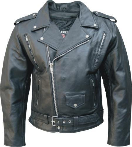 Men's Buffalo Hide Leather Motorcycle jacket w/vented front and back zipout liner and full belt AL 2072-50