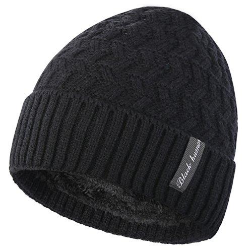 Novawo Bonnet unisexe avec doublure intérieure en polaire, bonnet épais et chaud avec écharpe chaude -  Noir - Taille Unique
