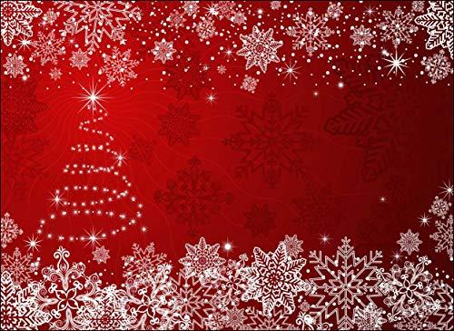 Tischsets I Platzsets - Weihnachtsbaum mit Schneekristallen rot - 12 Stück in hochwertiger Aufbewahrungsmappe - Die besondere Tischdekoration für die Adventszeit, Weihnachten und Jede Weihnachtsfeier