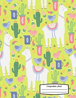 """Composition Book: 8.5"""" x 11"""" - Fancy Llamas and Cacti with Birds on Green Background Notebook for School or Activities, So..."""