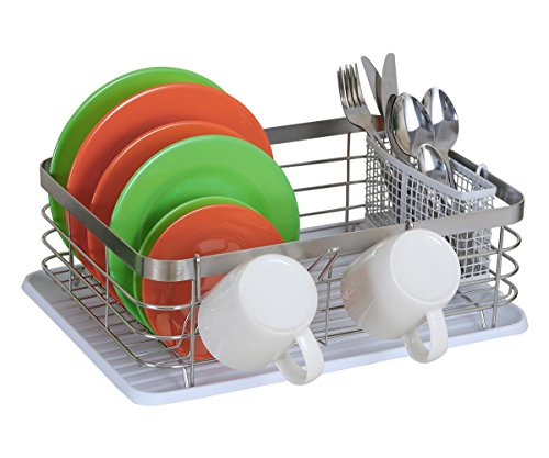 TQVAI Stainless Steel Dish Rack with Drainboard and Utensils Basket Cup Holder