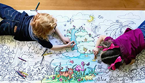 Smells Like Crayons Giant Wall Size, 5ft Coloring Page, Jungle Fun Color Me Cartoons for Kids and Adults, Family Gatherings, Quality time, Creative Learning 60'x30' (Jungle Fun)
