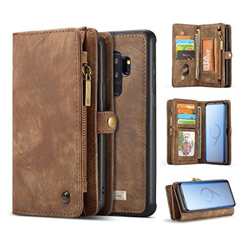 liyuzhu Funda de piel tipo cartera con ranuras para tarjetas de crédito y funda extraíble, diseño vintage y dos en uno, con cremallera de primera calidad para Samsung Galaxy S9 Plus (color: café)