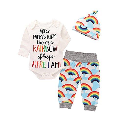 Kobay Säugling Baby Mädchen Jungen Brief Drucken Spielanzug Overall + Regenbogen Hosen + Hut 3ST Outfits Set(3-6M,Weiß)