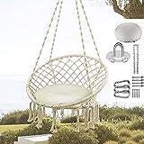 Hamaca colgante con silla colgante tejida con cuerda de algodón macramé con flecos - para interiores y exteriores, hogar, patio, dormitorio, jardín