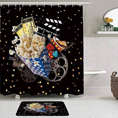 Shower Curtain-Movie Cinema Ticket Popcorn Cola Projector Clap-Stick Film 3D Glasses, Waterproof Bathroom Shower Curtains Bathroom Decor 72x72