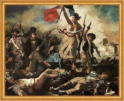 Kunstdruck Die Freiheit führt das Volk an Eugene Delacroix Kampf Schlacht LW H A1 0464