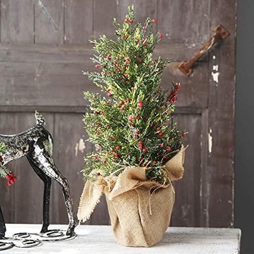 Árboles de Navidad Árbol De Navidad, Mini Ornamento De Árbol De Navidad, Pino Artificial De Navidad con Bayas Rojas Y Adornos De Lino-uno 30 Cm (Color : B)