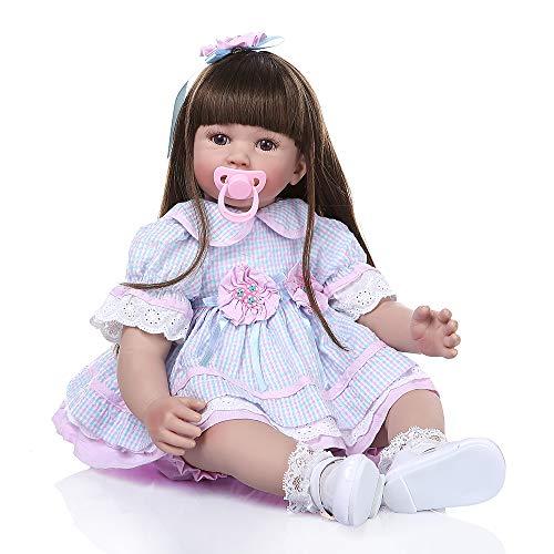 Binxing Toys 24 Pulgadas muñecas Reborn Grandes Hecha a Mano Realista niño renacido niña 60 cm de Pelo Largo con Vestido de Encaje