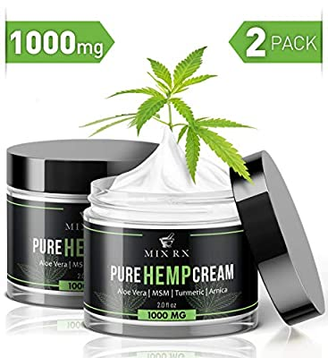 (2 Pack | 4oz) Hemp Cream for Pain Relief Helps Carpal Tunnel, Arthritis Back Knee Joint Muscle Lotion (1000mg) - Anti Inflammatory Hemp Oil Cream w Turmeric, MSM, Arnica, Vitamin A C D E - Hemp Salve from Mix Rx