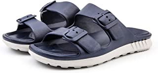 Chinashow Men Summer Beach Slipper House Slipper Double Button 7Colors Navy Blue