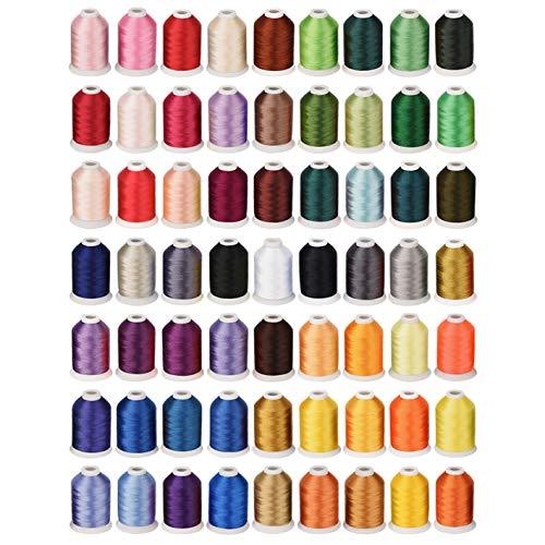 Simthread 63 Farben Polyester Maschinen Stickgarn - 1.100 Yards, für Brother, Babylock, Janome, Kenmore, Singer, W6 N Stickereimaschine
