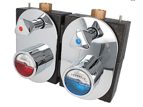 JS Wasserzähler-Messing Montageblock DUO komplett inkl. Messkapseln, Griffen und Abdeckungen