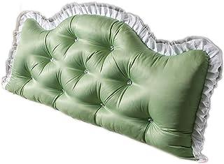Almohadas Cabecero tapizado Cojín de cuña Triangular Relleno Sofá Cama Cama Grande y Suave Respaldo Soporte de posicionamiento Lectura (Color : Green a, Size : 150 * 70cm)
