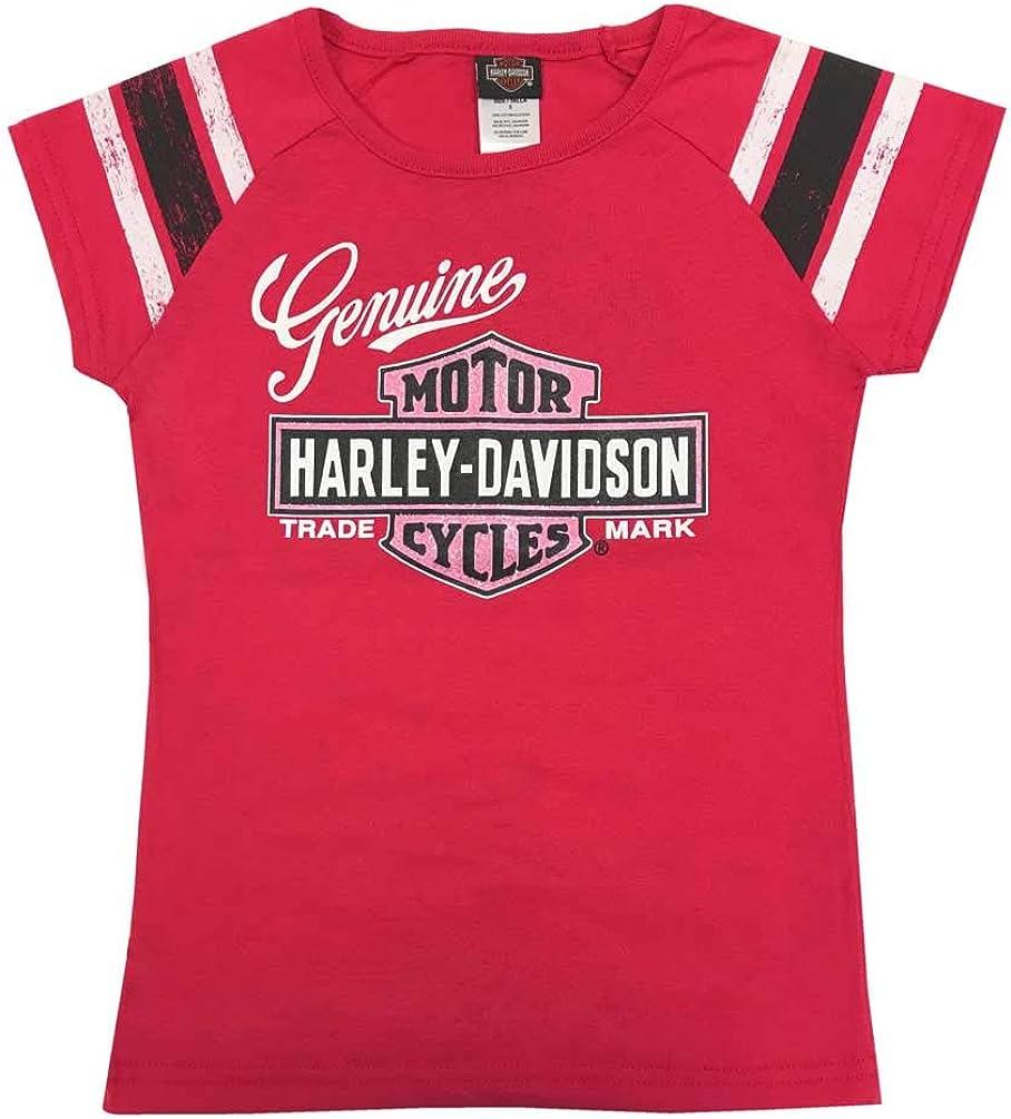 Harley-Davidson Little Girls' Glitter Genuine Legend B&S Short Sleeve Tee, Pink