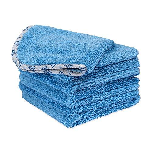 Buff Detail Microfiber Auto Detailing Towels (16' x 16') - 550 GSM Microfiber Car Towels for Washing Drying Waxing Buffing Polishing (6 Pack, Blue)