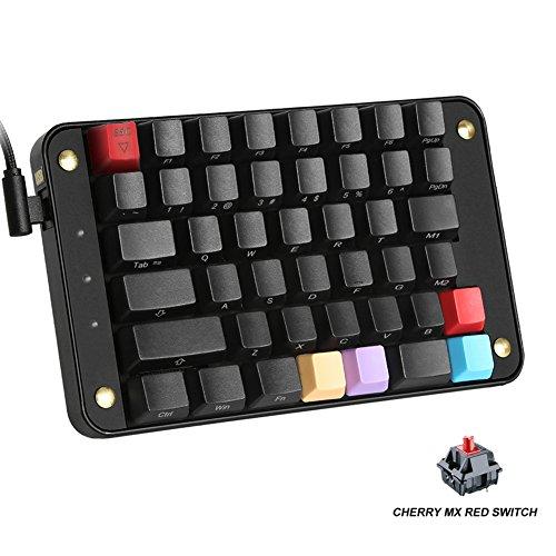 Koolertron Single-Handed Programmable Mechanical Keyboard, All 44 Programmable Keys Tools Keypad with Cherry MX Red Switch, 8 Macro Keys, PBT Front Side Print Keycaps - [SMKD82]