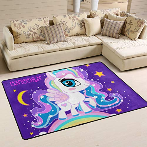 Ahomy Area Rugs Little Unicorn Stars - Alfombra para salón (91 x 61 cm), diseño de Unicornio, Multicolor, 91 x 61 cm