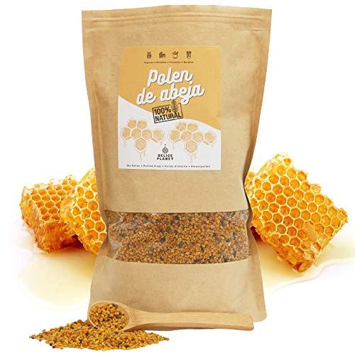 Polen de abeja 100% natural + Cuchara de madera incluida. 500 gramos de polen de origen español sin aditivos y libre de residuos